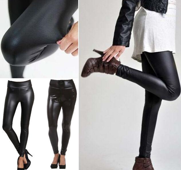HIGH WAIST Faux Leather Wet Look Mat Matt Leggings Shiny Full Tight Anke Length