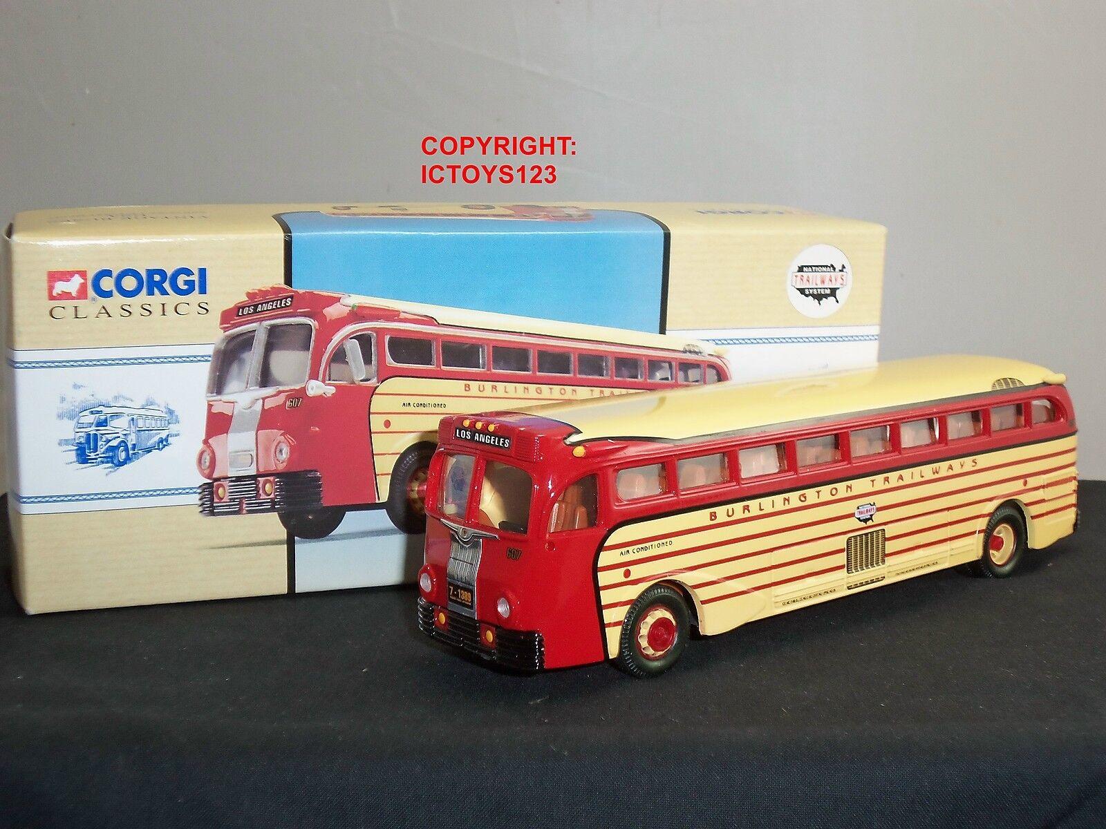 preferente Corgi 98465 Amarillo Amarillo Amarillo Coche 743 Burlington Trailways Bus de Modelo Diecast Americano