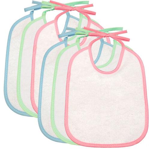 6 Pack Sure Baby Nylon Backed Coloured String Tie Feeding Drinking New Born Bibs