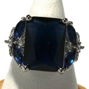 Antique-Princess-Cut-Blue-Sapphire-Ring-Nickel-Free-Women-Jewelry-Gift