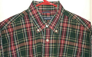 NAUTICA Men's Medium Plaid 80's 2-Ply Cotton Long Sleeve Button-Down (Large)