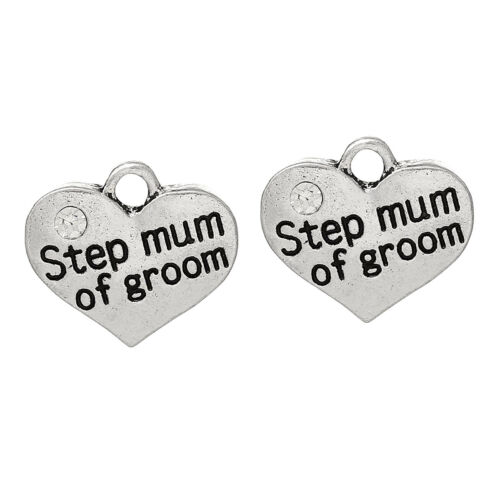 UK 5 ANTIQUE SILVER STEP MUM OF GROOM HEART CHARMS~PENDANTS~WINEGLASS CHARMS 17