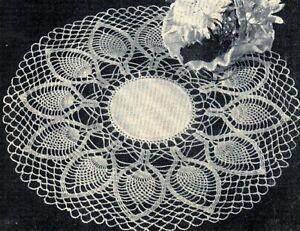 Vintage Crochet Pattern Pineapple Doily Ruffled Square