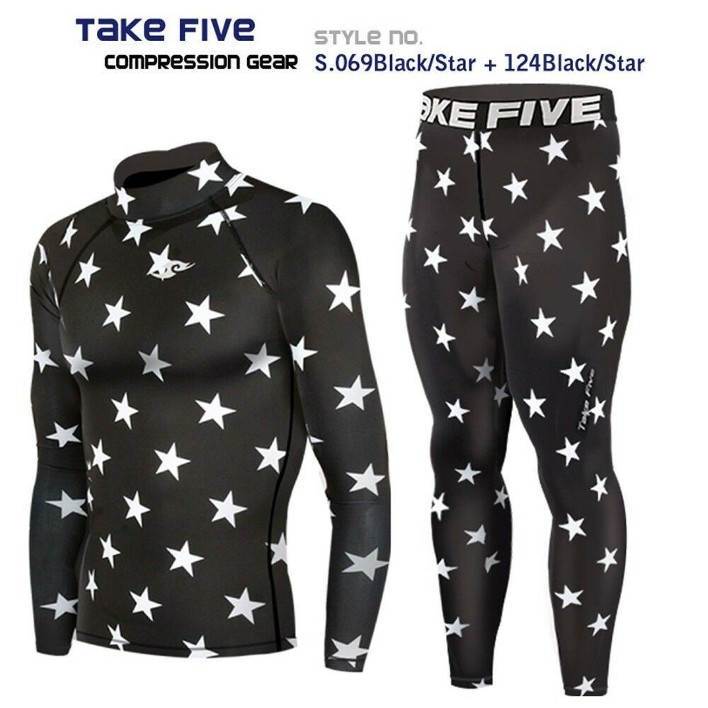 2019 New_Take Five Men's Compression Skin Tight Sports Top & Pants Sets_069+124
