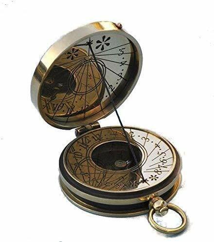 SUNDIAL compass Stanley London Brass nautical Polished Pocket Sundial Compass