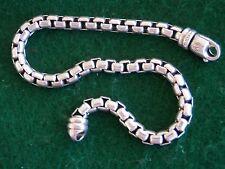 "David Yurman Sterling Silver 5mm Box Chain Men's Bracelet 9"""
