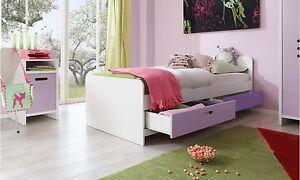 Kinderbett-Einzelbett-Kinderzimmer-Jugendzimmer-Bett-inkl-Schubkaesten-Lila-Pink