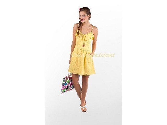 NWT Lilly Pulitzer Carreen Dandelion Yellow Sweet As Sugar Eyelet Dress  LARGE