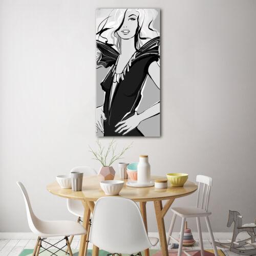 Wand-Bild Kunstdruck aus Hart-Glas Hochformat 70x140 Fashion
