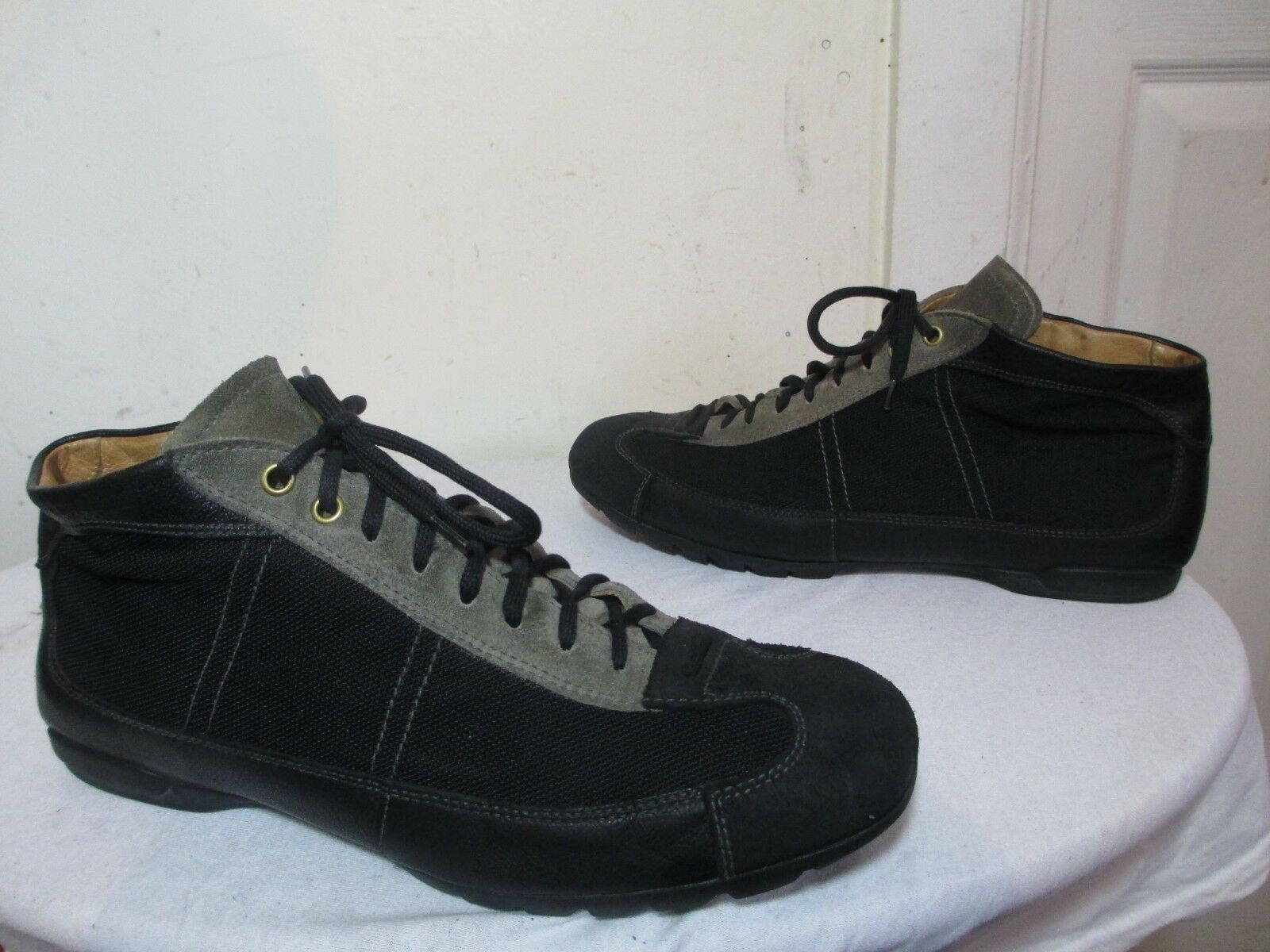 THE ORIGINAL CAR SHOES BLACK LEATHER/NYLON MADE IN ITALY MARKED SIZE 8