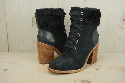 35171200e0c UGG JAXON BLACK SUEDE FUR CUFF BLOCK HEEL LACE UP BOOTIE WOMENS US 8.5 NIB  | eBay