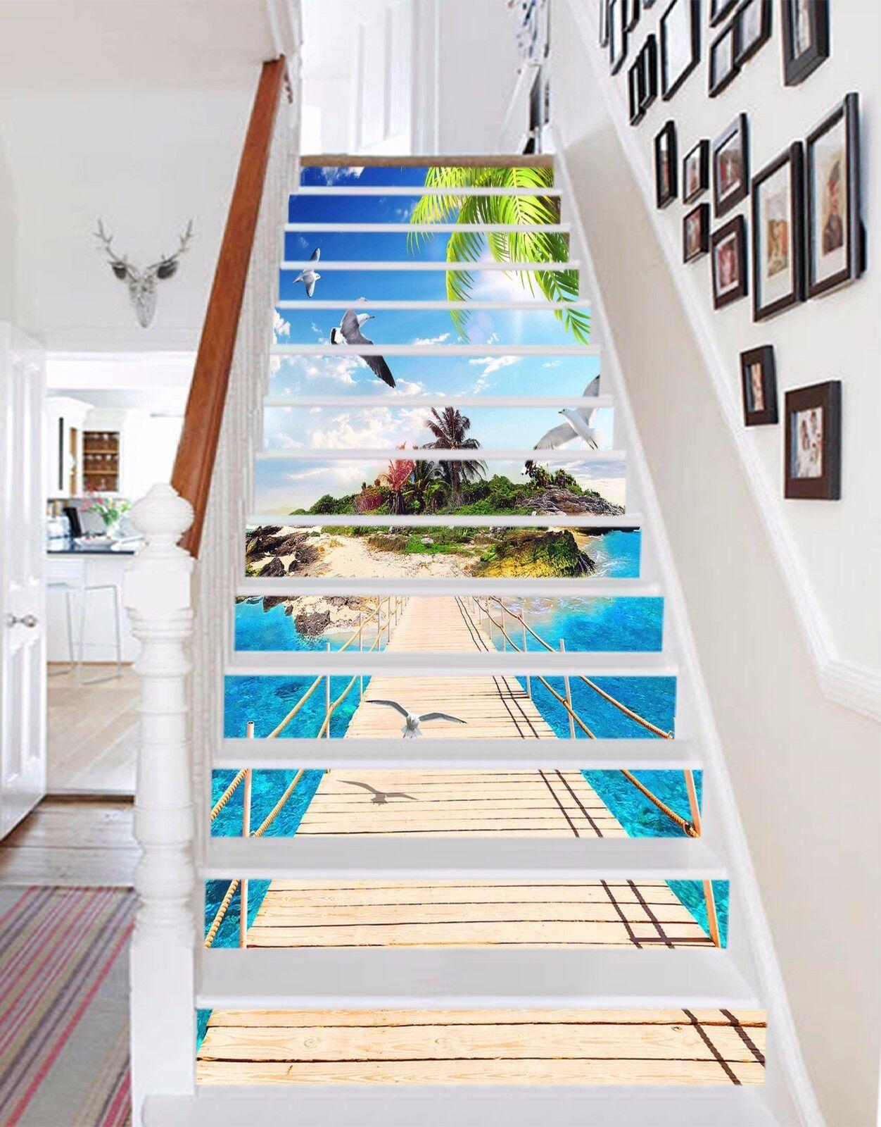 3D Island Bridge Sea 5735 Risers Decoration Photo Mural Vinyl Decal Wallpaper CA