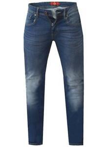 AMBROSE-KS-D555 Coupe Fuseau Stretch Jeans en Bleu Foncé
