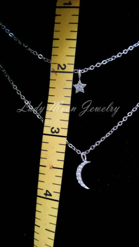 """925 Sterling Silver Crystal Double Layers Star Moon Pendant Necklace 16/""""-18.5/"""""""