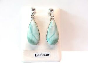 Larimar-Ohrstecker-925-Silber-Larimar-Earrings-Nr-E7705