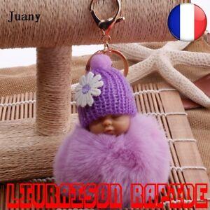 Porte-cles-Peluche-Sac-Main-Fourrure-Pompon-Chaine-Femme-Bijoux-Voiture-Anneau