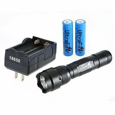 US 1000LM WF-502B CREE XM-L T6 5Mode LED Flashlight Torch w/ Batteries & Charger