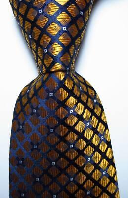 New Classic Checks Gold Dark Blue White JACQUARD WOVEN Silk Men/'s Tie Necktie
