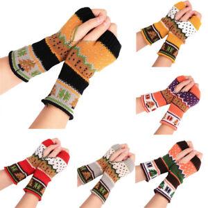 Women-039-s-Winter-Half-Finger-Fingerless-Gloves-Wrist-Arm-Hand-Warmer-Knitted-Xmas