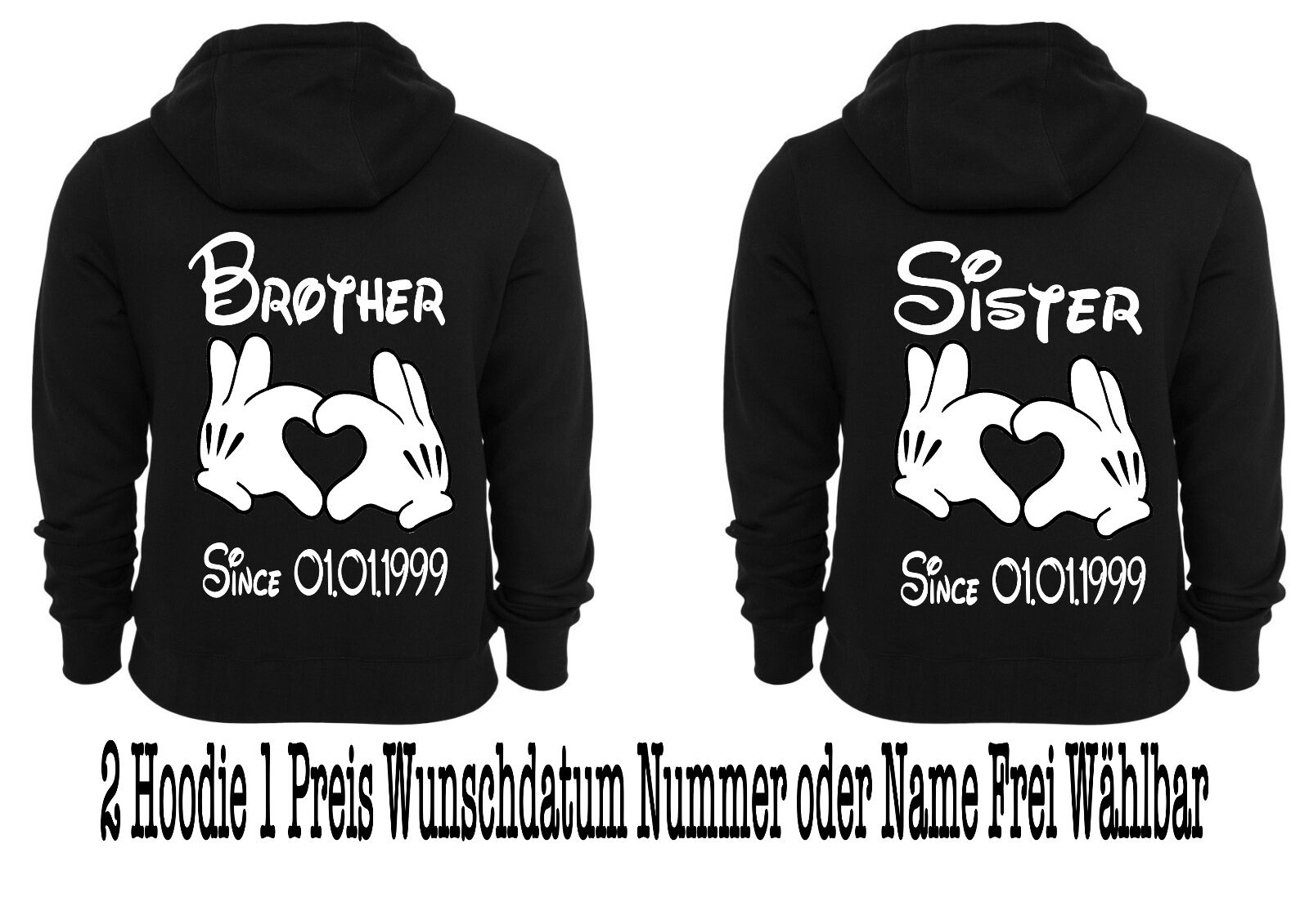 Pullover Hoodie BROTHER Sister Sister Sister motivo partner LOOK One Love XS - 5xl desiderio data dea515