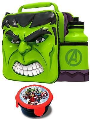 Marvel Hulk 3D Lunch Bag/Box and 500ml Bottle Set with Snack Pot | Hulk Lunchbox