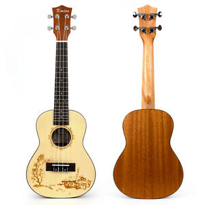 Kmise Professional 23 Inch Top Laminated Spruce Concert Ukulele Hawaii Guitar