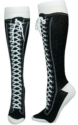 Sneaker Converse Black (KH032) Novelty Shoe Knee High With Shoe Lace New Gift