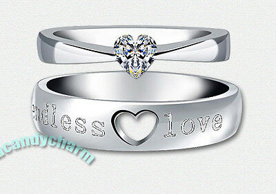 Made in Korea Endless Love Engraved Heart Cut CZ Gem Couple Engagement Rings SET