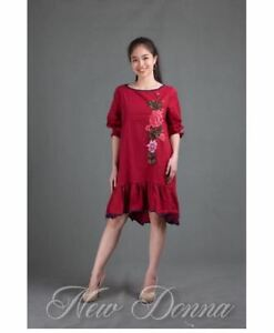 DRESS-EMBROIDERED-MAROON