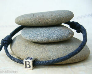 Image is loading Boys-Bracelet-Sterling-Silver-Initial-Bead-1st-Holy-