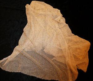 Amical Rare Ancien Coupon De Tissu Brodé De Perles De Verre Beige Dore