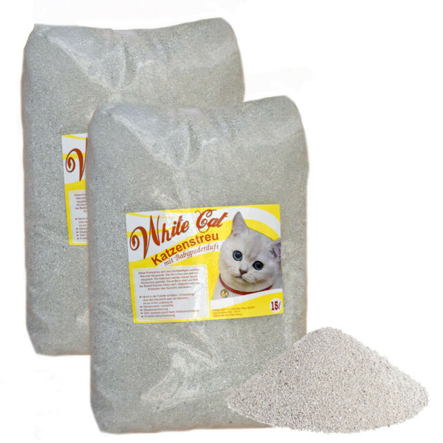2 x 15 L White Cat Katzenstreu klumpend mit Babypuderduft Naturprodukt staubarm