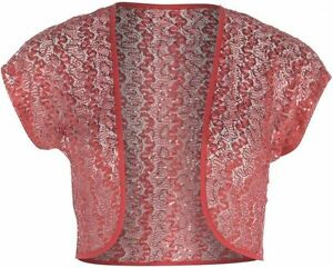 Ladies New Coral Sequin Lace Bolero Shrug Top Size 14 16 18 20 22 24 26 *LICK*