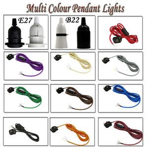 Cable-flexible-de-tela-Enchufe-Colgante-Lampara-Luz-Set-Vintage-B22-E27-titular-de-montaje