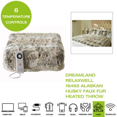 Dreamland Relaxwell 16465 Alaskan Husky Faux Fur Heated Throw