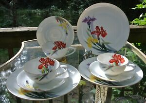 Vtge-Rossetti-Hand-Painted-Set-of-3-Cups-Saucers-Dessert-Plates-Made-in-Japan