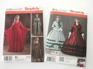 2-Costume-Sewing-Patterns-Simplicity-1045-Medieval-Gown-1818-Victorian-Civil-War