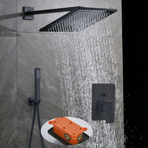 Details About Wall Mount Rainfall 12 Inch Rain Shower Set Hand Sprayer 2 Way Oil Rubbed Bronze
