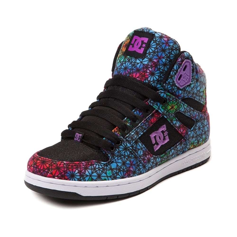 NEW femmes DC Rebound Hi Skate Chaussures Multi Multicolo rouge Kaleidoscope Print Chaussures