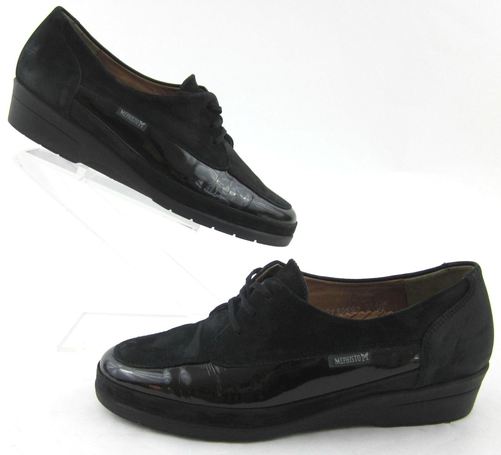 Mephisto Womens Moc Toe Lace Up Oxfords Black Patent & Nubuck Leather Sz 8