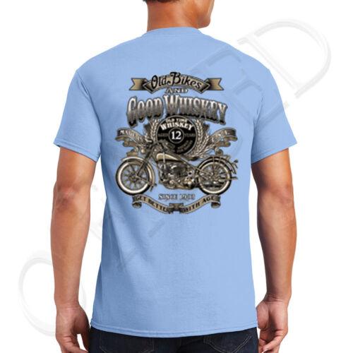 1421B Biker Bar Whiskey Adult/'s T-shirt Old Bikes on the back of Tee for Men