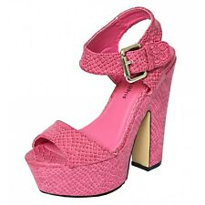 S515 - Ladies Ankle Strap Chunky High Heel Snake Print Party Sandals - UK 3 - 8
