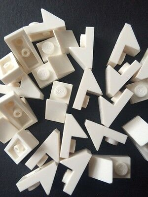 Lego New Lot Of 24 White Roof Tile 1X2 45° W 1//3 Plate Bricks