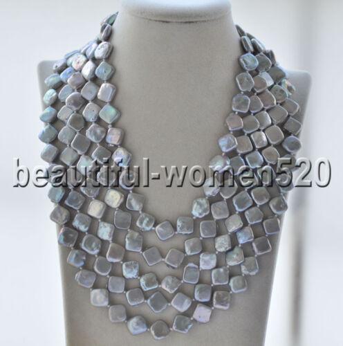 Z9481 12 mm carré gris eau douce collier de perles 100 in environ 254.00 cm