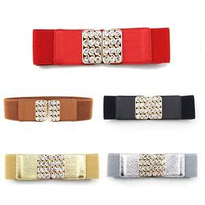 Stylish-Women-Ladies-Belt-Elasticated-Stretchy-Rhinestones-Metal-Gold-Buckle-491