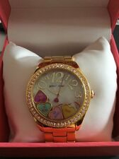 BETSEY JOHNSON BJ00048-181 Women's Crystal Gold-Tone Stainless Steel Watch NEW*