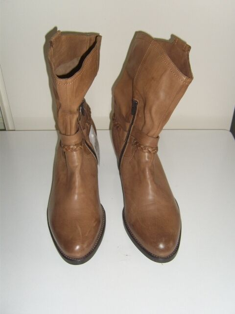 NEU Stiefeletten 42,5 Damenschuhe Carolina Gr. 42 42,5 Stiefeletten 43 NP  Echtleder cognac Stiefel f3e298