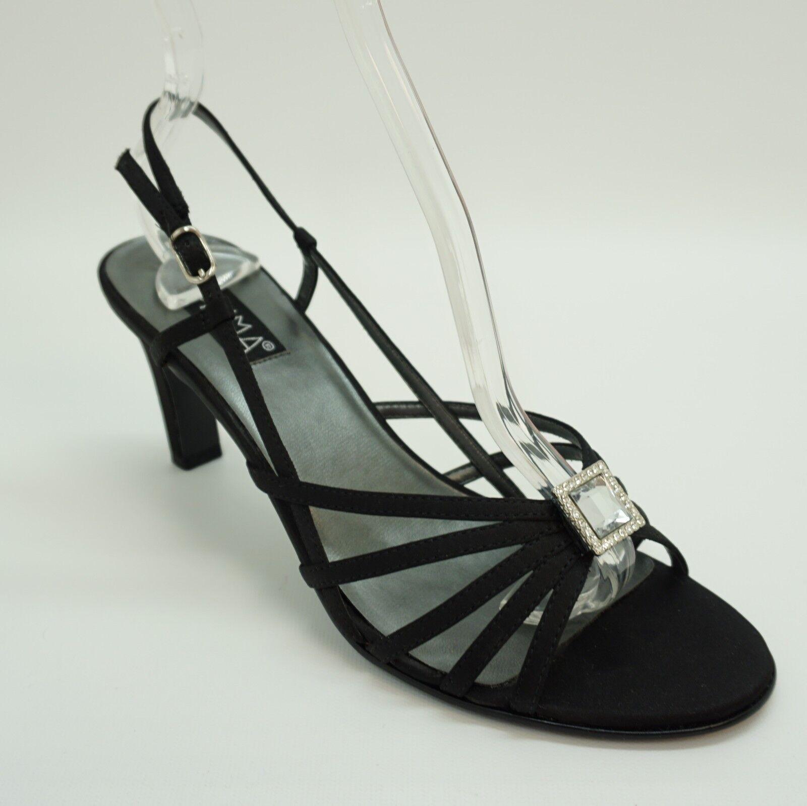 Prima Women Shoe Liza Open Toe Strappy Slingback Jewel High Heel Black Satin Jewel Slingback 7M 4234a1