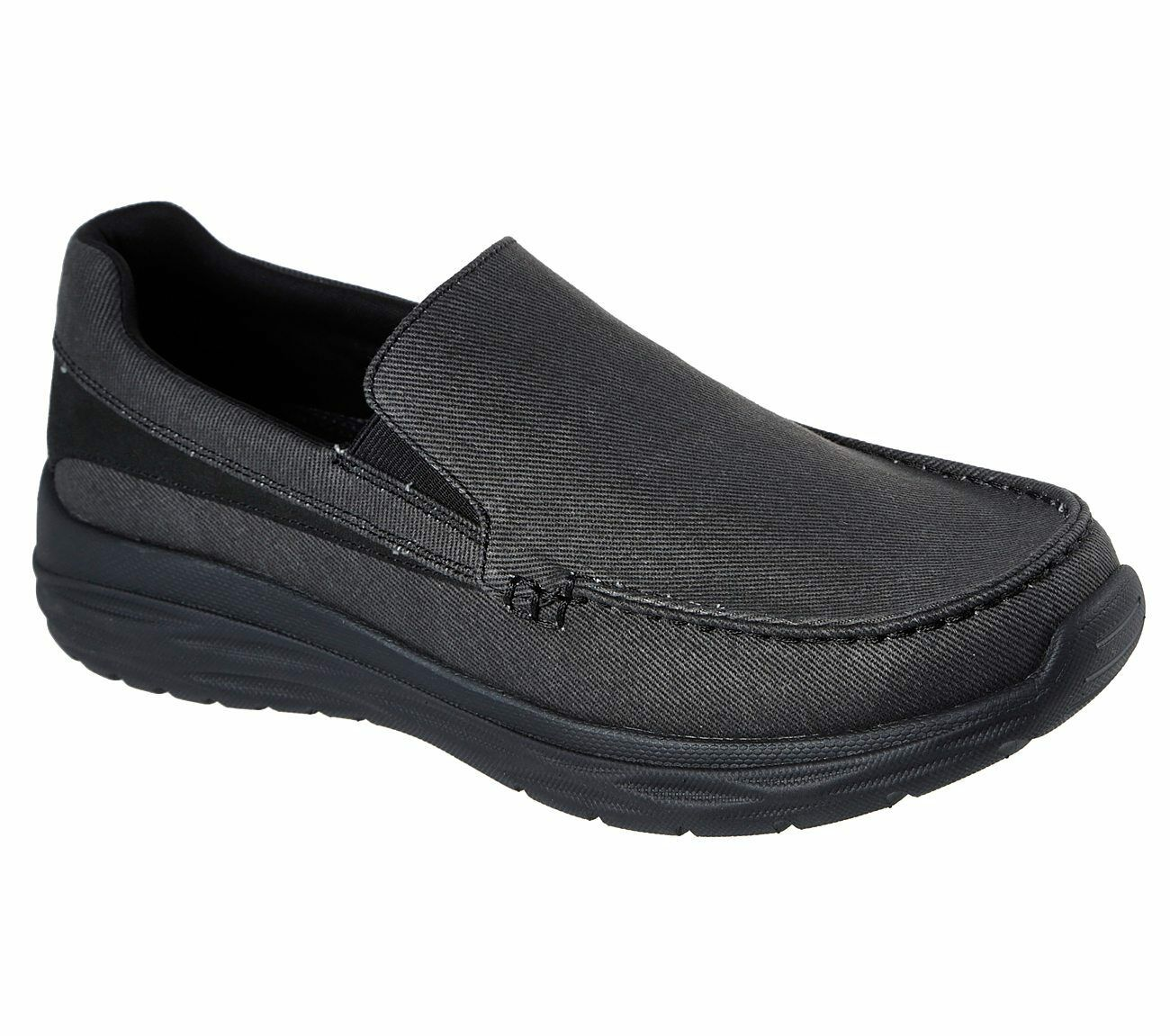 65605 Black Skechers shoes Men Canvas Memory Foam Slip On Comfort Loafer Casual