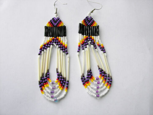 """Porcupine Quill  Earrings NEW Navajo purple  orange and yellow looped 3 1//2/"""""""